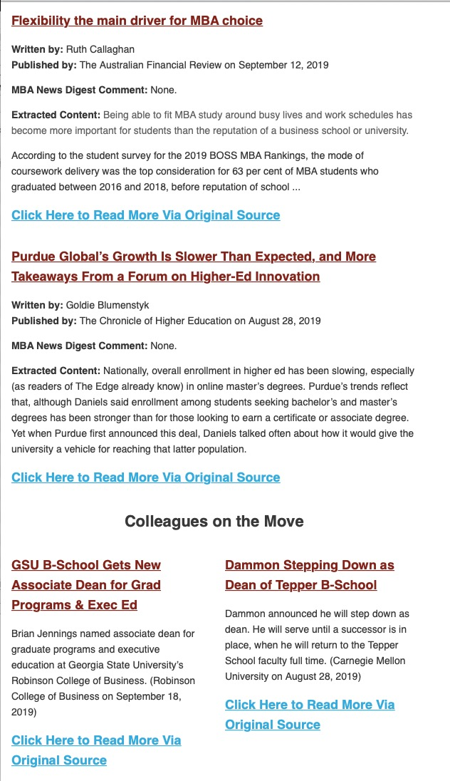 MBA News Digest excerpt